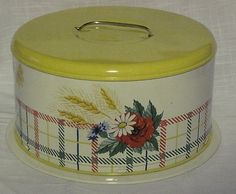 Vintage Metal Cake Carrier Yellow White and Flowers