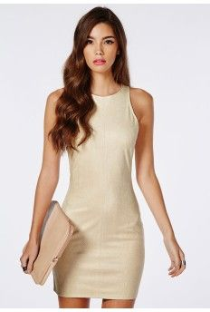Suede Snake Sleeveless Bodycon Dress Nude