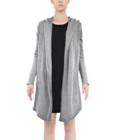 Take a look at this Heather Gray Hooded French Terry Open Jacket today!