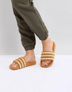 054f25e1e313 adidas Originals Adilette Furry Slider Sandals In Tan