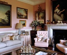 Pink walls in an elegant sitting room