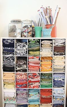 Pretty Fabric Stash - pinned because it's nice to know someone else has a bigger stash waiting to be sewn!