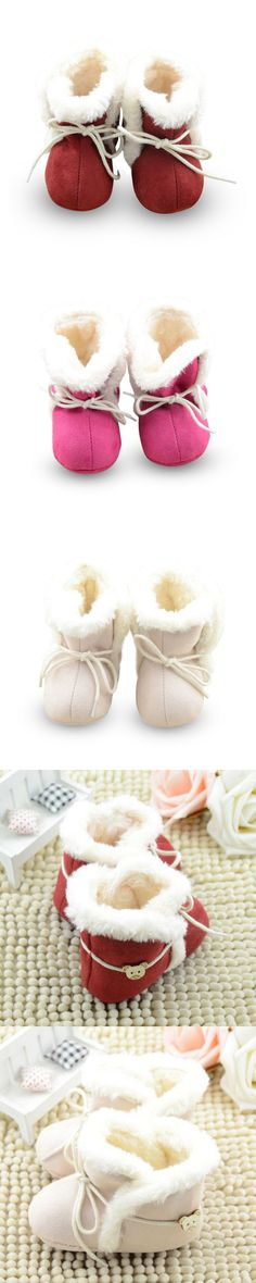 New Cozy Baby Shoes 3 Colors Winter Baby Girl Tie Up Booties Newborn Toddlers Kid Cozy Crib Shoes 781