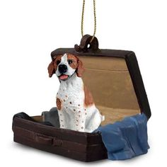 Pointer Brown White Tag Along Carrycase Pet Ornament