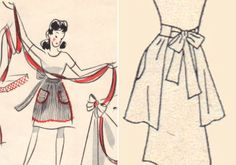 Ticking apron with yarn trim