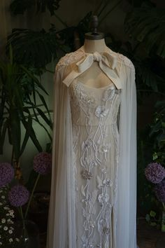 Bespoke, personalised bridal cape, hand-embroidered with silk thread roses in silk chiffon. Capes, Wedding Types, Bridal Cape, Silk Thread, Boho Bride, Hermione, Couture Collection, Silk Chiffon, Bespoke