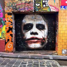 The Joker by Owen Dippie (Hosier Lane, Melbourne.)   source: http://instagram.com/thekimbots   #streetart