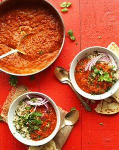 27 High-Protein Dinner Recipes Under 500 Calories - Spicy Red Lentil Curry from Minimalist Baker Indian Food Recipes, Whole Food Recipes, Dinner Recipes, Cooking Recipes, Baker Recipes, African Recipes, Turkish Recipes, Curry Recipes, Vegetarian Recipes