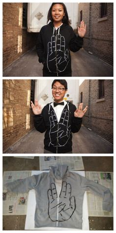 """crankycrafter:  DIY Star Trek """"Live Long and Prosper"""" Hoodie. A craft fail because the thumb is not extended, but still a good idea that you could fix. There is a template and tutorialhttp://www.instructables.com/id/Do-your-own-star-trek-sweat-shirt-/?ALLSTEPSOr you can buy the black and white hoodie for $49.50 but most of the sizes are sold out from Threadlesshttp://www.threadless.com/product/2464/Traditional_Greeting     truebluemeandyou: Easy fix for this craft fail modifying the…"""