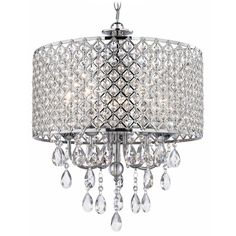 Crystal Chrome Chandelier Pendant Light with Crystal Beaded Drum Shade | 2235-26 | Destination Lighting