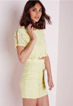 Lace & Ladder Detail Mini Skirt Yellow - Lace - Mini - Skirts - Missguided