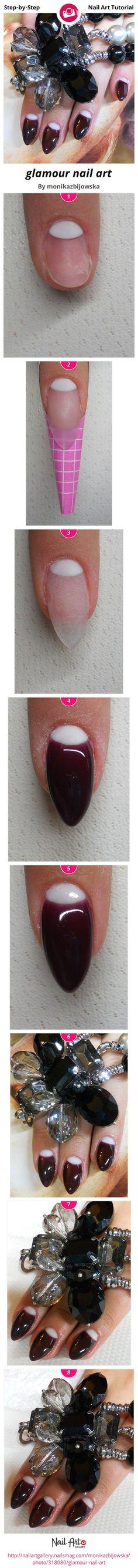 glamour nail art by monikazbijowska - Nail Art Gallery Step-by-Step Tutorials nailartgallery.nailsmag.com by Nails Magazine www.nailsmag.com #nailart