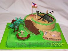 boy army birthday cake | Cake was chocolate with BC frosting. Round cake was cut and used for ...