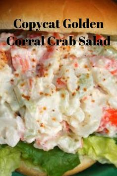 The recipe calls for the imitation crab meat. I think it would be even better with the real thing. Best Crab Salad Recipe, Sea Food Salad Recipes, Crab Meat Recipes, Golden Corral Seafood Salad Recipe, Paleo Recipes, Seafood Appetizers, Seafood Dishes, Appetizer Recipes, Sushi