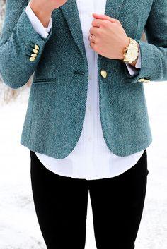 JCrew Herringbone Blazer - Class Meets Couture