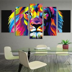 Canvas Print Painting Pictures Wall Art Home Decor Abstract Lion Colorful Framed 5 Piece Canvas Art, Large Canvas Art, Canvas Wall Art, Canvas Prints, Watercolor Lion, Watercolor Canvas, Lion Wall Art, Lion Painting, Spray Painting