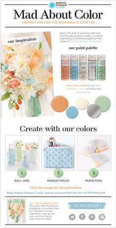 So pretty! salmon, blue, silver, cream and sage #madaboutcolor color palette inspiration and DIY projects with  #marthastewartcrafts @marthacrafts #plaidcrafts