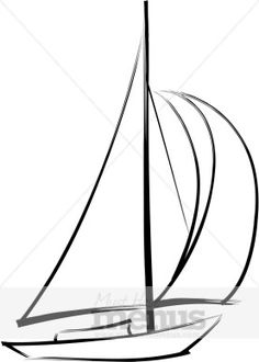 simple drawings of sail boat | eps jpg word png tweet sailboat clip art full sails billow with wind ...
