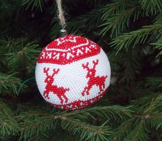 Reaindeer Christmas ornaments ball forest animal Rudolph beaded winter holidal gift rudolph christmas toy hunting gift woodland decor deer by UkrainianBeadJewelry on Etsy