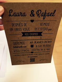 invitaciones para bodas papel kraft | tubodamovil.com