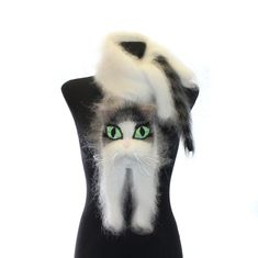 Knitted Scarf / Fuzzy white Soft Scarf / cat scarf / by TaniaSh