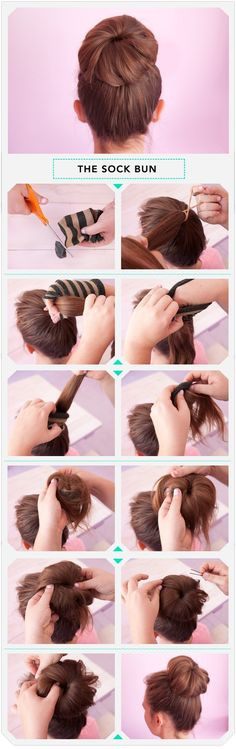 Slip the end of your pontail into a cut sock until all the hair is in the sock. Starting at the ends, roll your hair down into the sock. Keep rolling, pin with bobbypins.
