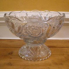 Large Antique Pressed Glass Punch Bowl, New Martinsville, Carnation Pattern.-FREE SHIPPING-