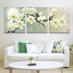 [Visit to Buy] Embroidery cross stitch part round rhinestones diamond painting flower moon drill diy diamond painting triptych 3 Canvas Paintings, Cross Paintings, Painting Frames, Flower Paintings, Cross Stitch Kits, Cross Stitch Embroidery, Living Room Trends, Living Room Pictures, Wall Pictures