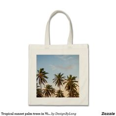 Tropical sunset palm trees in Vintage Style Tote Bag