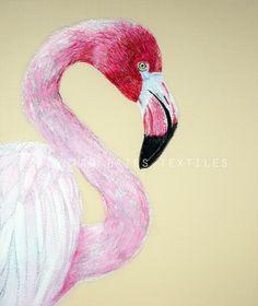 'Flamingo' Hand & Machine Embroidered Art Canvas ©gillianbates 2016
