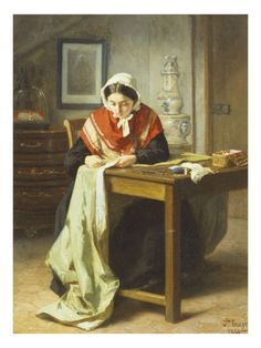 The Seamstress, Jean-Baptiste Trayer ohh i'm jeliouse she has a table to work on .most of my sewing is cut out on the floor sewn togather with sewing machine on the kitchen table or on my lap at computer desk.