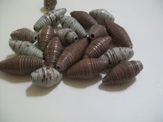 Brown and brown/ blue paper beads by Analisabeads on Etsy