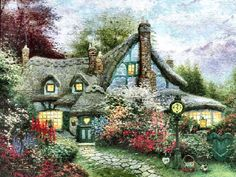 """""""Sweetheart Cottage"""" by Thomas Kinkade 1/28/14"""