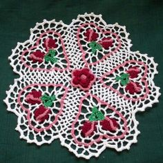 thread crochet doily rose budding hearts by AndersonsCreations, $35.00