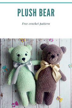 Crochet Teddy Bear Pattern Free, Teddy Bear Patterns Free, Crochet Bee, Easter Crochet Patterns, Crochet Baby Toys, Crochet Amigurumi Free Patterns, Plush Pattern, Free Crochet, Crochet Animals