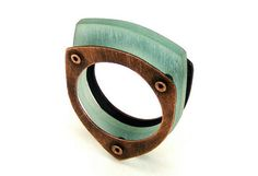 Oxidized Copper and Aqua Resin Riveted Ring - Sentiment by mkwind #fashion #jewelry #ring
