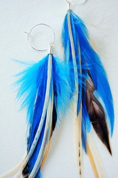 Deep Blue Sea Feather Earrings by MayflyJewelry on Etsy