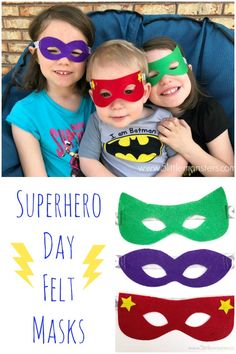Sewing For Kids Easy Superhero Day Masks Make quick and easy felt masks for your little superhero - Superhero Day Masks are quick and easy to make with a Cricut Maker and felt. Add in a superhero LEGO set and you are ready for National Superhero Day. Felt Crafts Patterns, Felt Crafts Diy, Geek Crafts, Kids Patterns, Vbs Crafts, Superhero Classroom Theme, Superhero Kids, Sewing For Kids, Diy For Kids