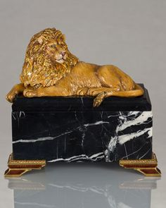 """Lion on Marble Box by Jay Strongwater at Neiman Marcus 
