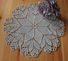 Crochet doily doilie handmade craft grey napkin table home decoration