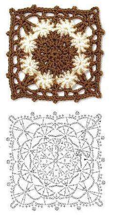 Granny Square Häkelanleitung, Granny Square Crochet Pattern, Crochet Diagram, Crochet Chart, Crochet Squares, Crochet Blocks, Love Crochet, Crochet Granny, Diy Crochet