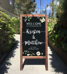 Welcome Wedding Sign - Rustic Wedding Chalkboard Sandwich Board | Wedding Easel Sign