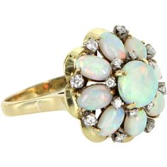 Pre-Owned H Stern Opal Diamond Vintage Cocktail Ring 18k Gold (€1.700) ❤ liked on Polyvore featuring jewelry, rings, yellow gold, 18k diamond ring, yellow gold diamond rings, vintage gold rings, diamond cocktail rings and gold diamond rings
