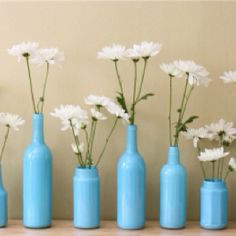 Paint over those used wine bottles or   Izzes for unique vases!
