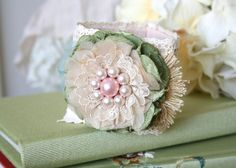 Floral Wrist Corsage - Blush Pink and Green Fabric Flower Cuff Bracelet