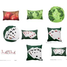 Some floral and poker hands pillows by polyart-466 on Polyvore featuring interior, interiors, interior design, дом, home decor and interior decorating