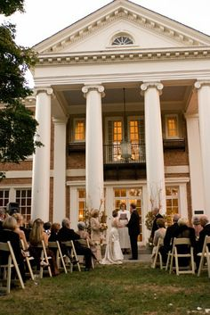 A classic outdoor wedding ceremony outside a historic mansion. {The Mansion at Strathmore}