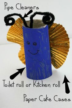 How to make a simple toilet roll butterfly craft - fun junk modelling idea! Creative Activities, Craft Activities For Kids, Toddler Activities, Easter Activities, Craft Ideas, Ladybug Crafts, Butterfly Crafts, Fun Crafts, Crafts For Kids