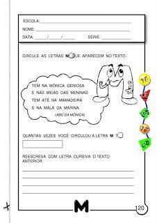ALFABETIZAÇÃO CEFAPRO DE PONTES E LACERDA : Sugestão de Atividades com a letra M