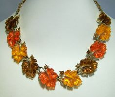 Vintage Lisner Molded Thermoset Leaf Necklace Fall Colors Rhinestones Signed Shades of Orange and Brown Mid Century 115